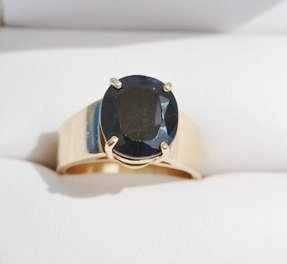 14K Yellow Gold Ring in Wide Band and Dark Sapphire Stone