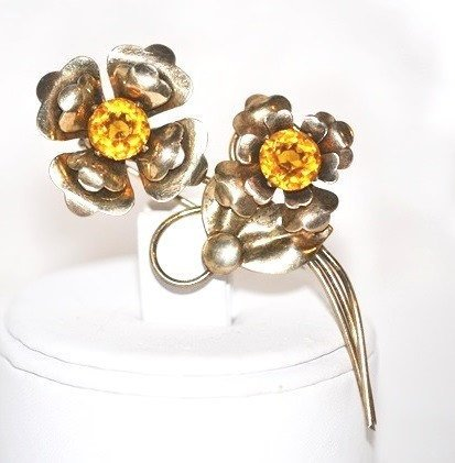 Double Flowers Brooch 14K Gold Plated Over Sterling