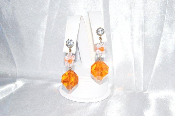 1960s Era Mod Earrings Orange Faceted Drop Balls on Clips
