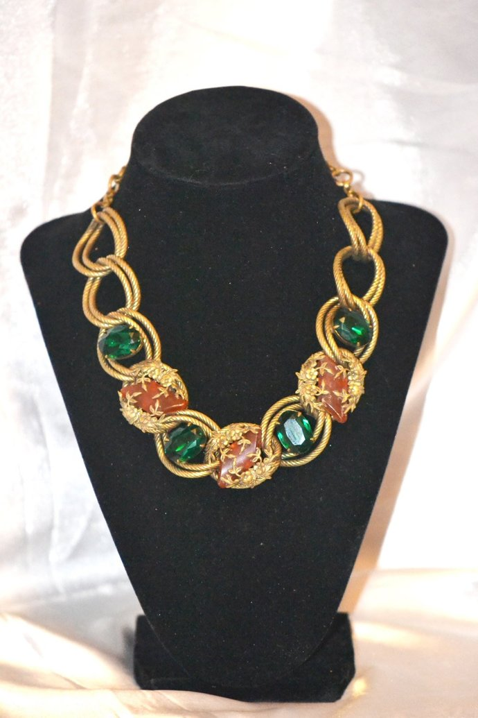 Schiaparelli Attributed Emerald Green with Lucite Necklace