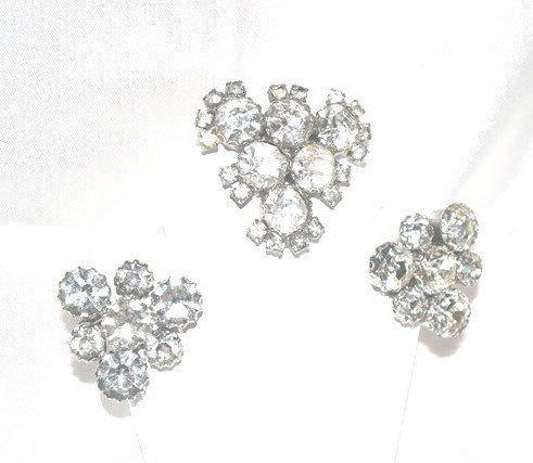 1940s Era Clear Headlight Rhinestone Brooch Earrings Demi