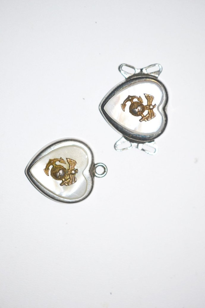 WW2 Marine Corps Sweetheart Mother of Pearl Pendant & Bracelet Finding