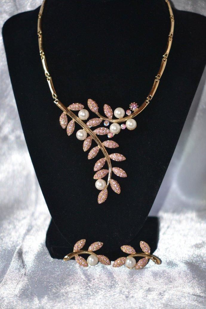 1980s Segmented Bib Flower Spray Pink Rhinestone Demi
