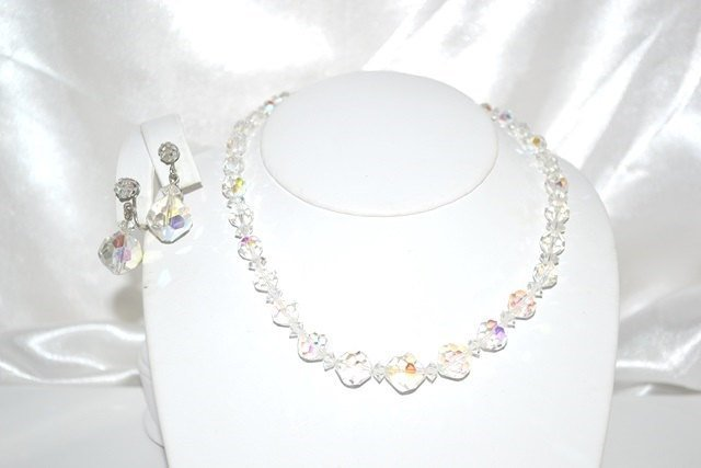 Vintage Signed Laguna Faceted Crystal Choker Style with Earrings Set