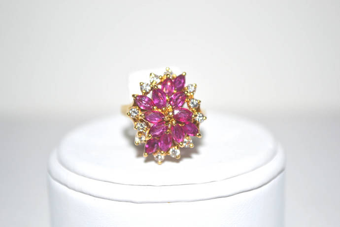 Diamond and Ruby 18K (750) Gold Cocktail Ring Size 6+/-