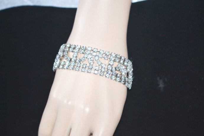 Bracelet 1950s Era Wide Flat Clear Rhinestones in Open Work Silver Tone