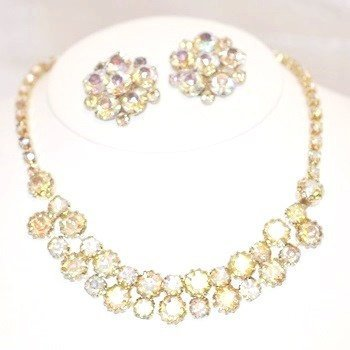 Aurora Borealis Headlight Rhinestone Necklace Matching Earrings
