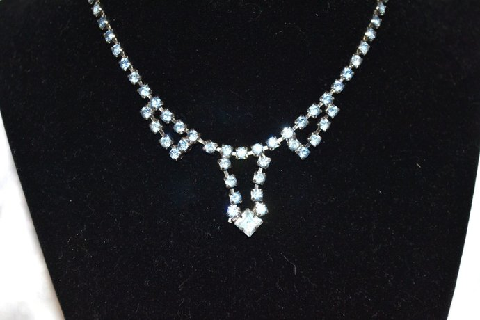1950s Era Single Strand Pale Blue Rhinestone Necklace