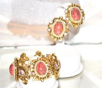 Signed Selro Corp Bracelet with Earrings Coral Matrix Set