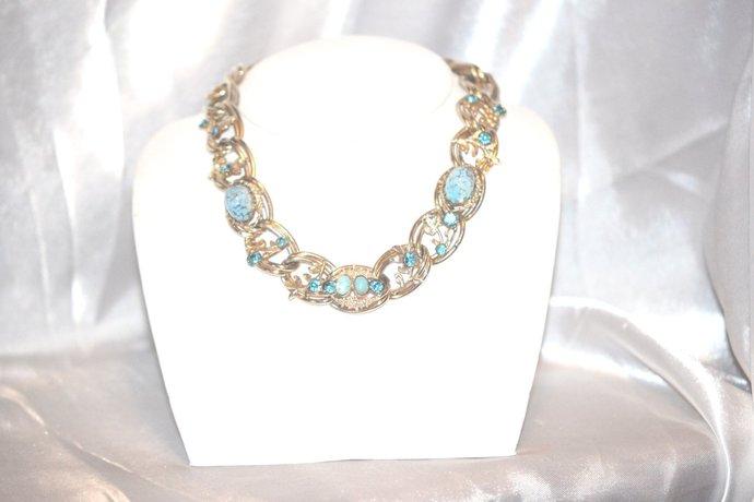 Signed Kafin New York Necklace Vintage Blue Art Glass Rhinestones