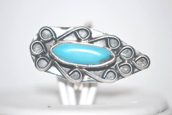 Sterling Silver Hallmarked Morenci Turquoise Ring