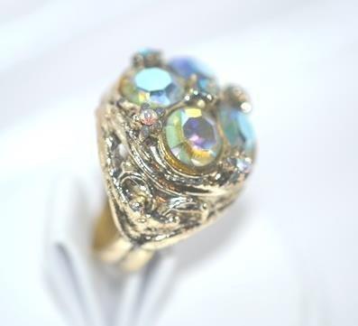 Cocktail Ring Adjustable Dark Blue Aurora Borealis in Gold Tone