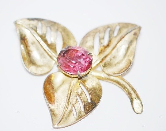Signed Coro Gold Plated over Sterling with Pink Rhinestone Brooch