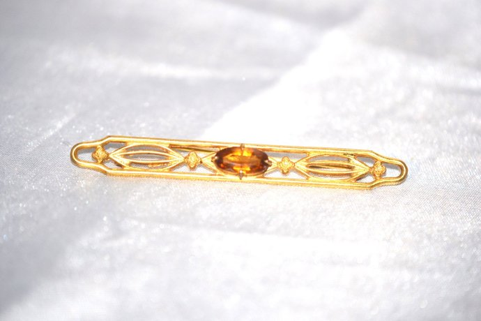 Edwardian Era Topaz Bar Pin in Open Worked Gold Tone
