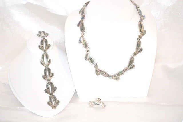 Signed Taxco Sterling Silver Necklace Bracelet Earrings Set