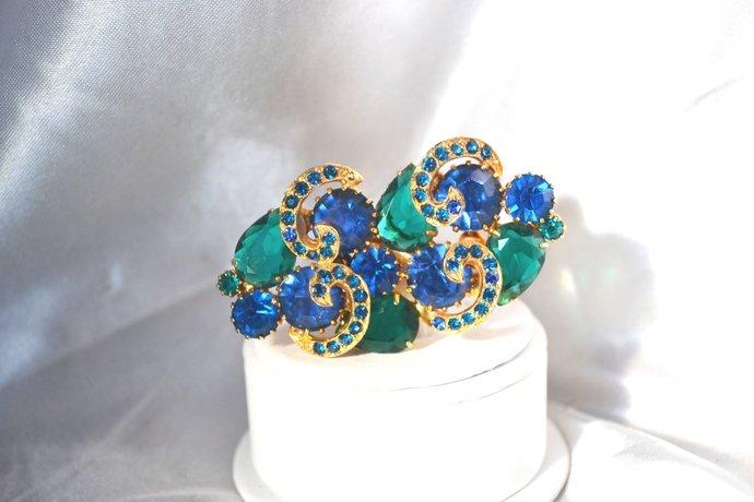 Emerald Green Deep Blue Rhinestone Vintage Brooch with Ribbon Accents