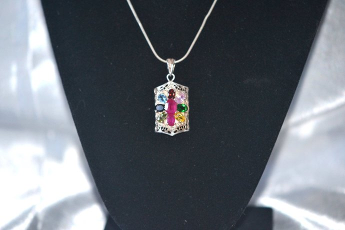 Sterling Silver Snake Chain With Mother's Pendant Birthstone Necklace