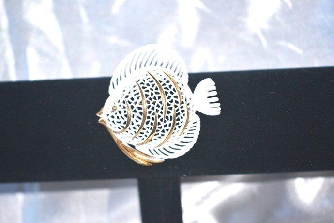 Signed Monet White Enamel on Gold Tone Open Worked Fish