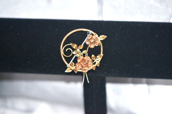 Signed Krementz Rose and Yellow Gold Filled  Flower Brooch