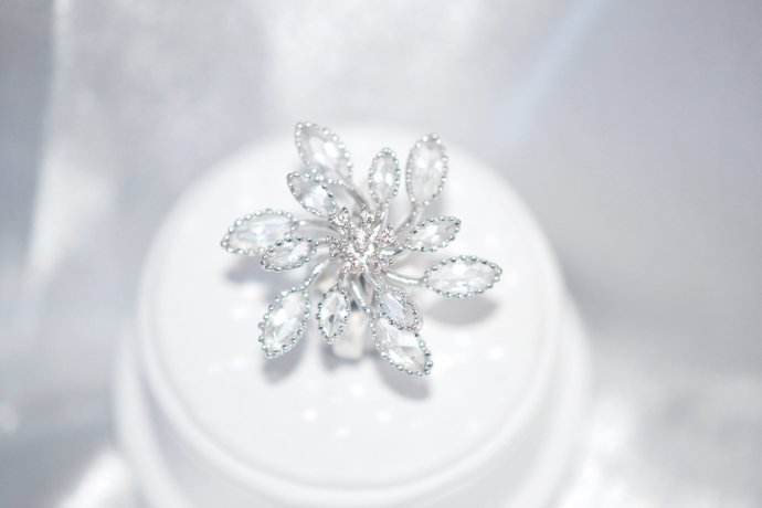 Ring Clear Layered Crystal Swirling Snowflake Size 8