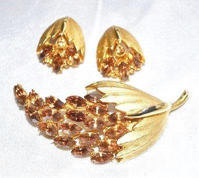 Signed BSK Brooch Earrings Set with Amber Rhinestones