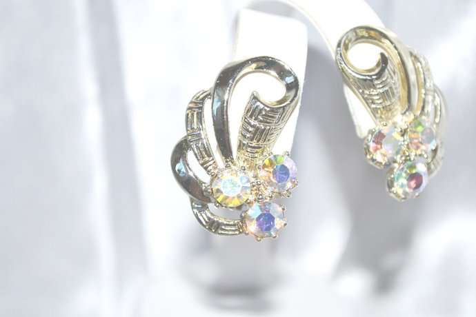 1960s Era Earrings with Aurora Borealis Rhinestones in Gold Tone