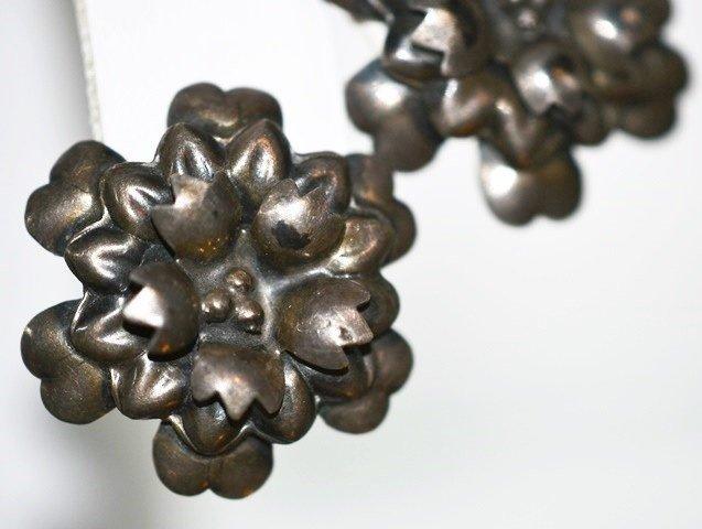 Sterling Silver Earrings Cactus Flower on Screw Backs