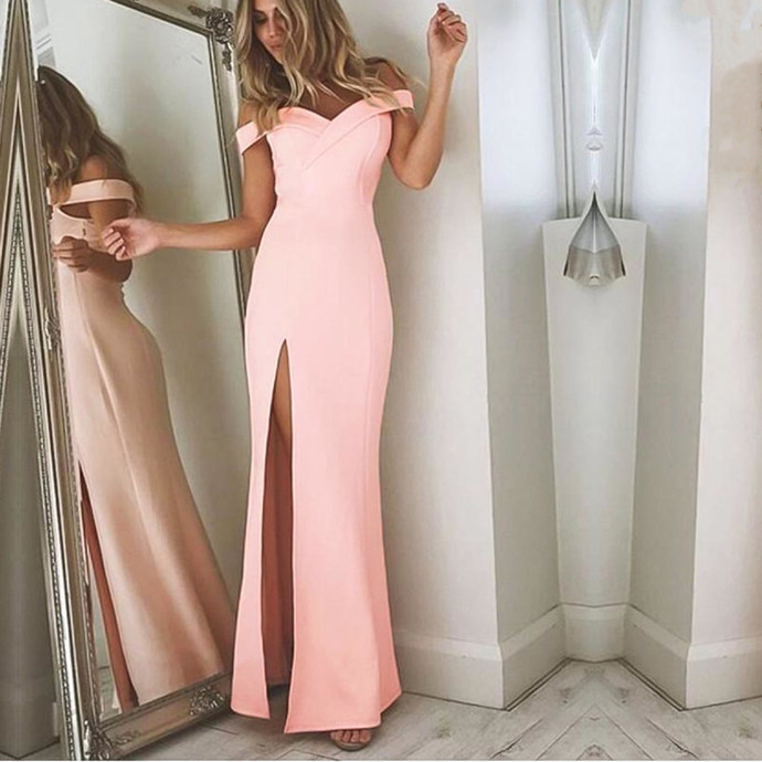 off the shoulder bridesmaid gowns,leg slit prom dress,elegant prom gowns,simple