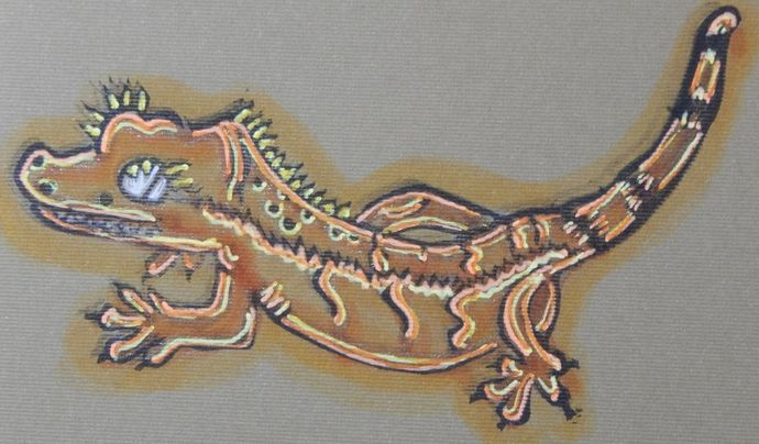 Crested Gecko Notebook - Paper Journal - Hand-Stitched - Hand-Printed - Blank