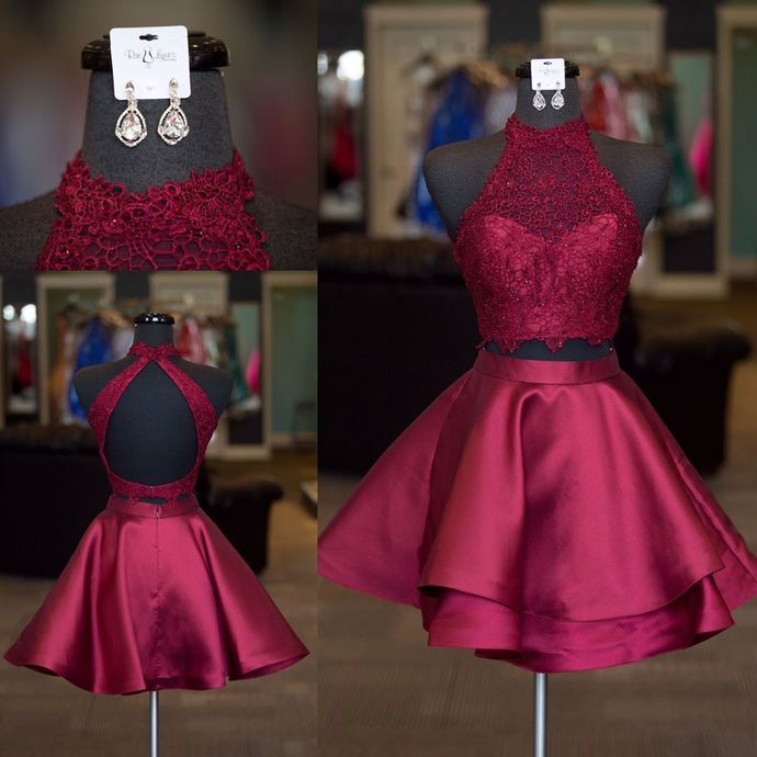 Two Piece Homecoming Dresses,Short Prom Dresses 2018,Semi Formal Dress,Short