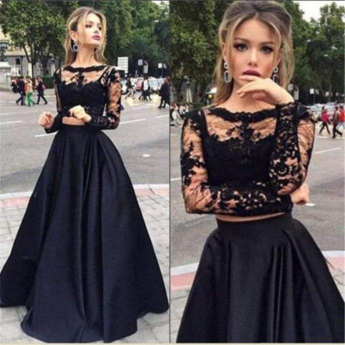 c99e024c89214 Sexy Black Hot 2 Pieces Prom Dresses Long Sleeve Evening Dress Cheap Formal