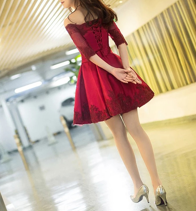 burgundy bridesmaid dresses,short party dress,short homecoming dresses with