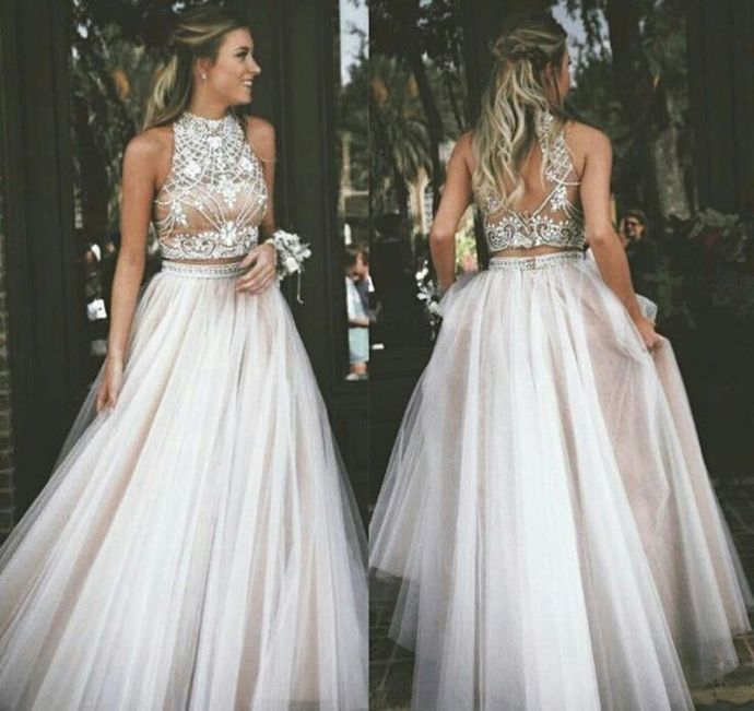 two piece 2019 prom dresses