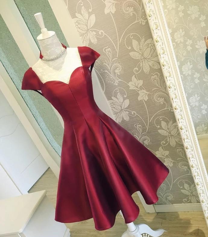 Cap Sleeves Prom Dress,Knee-length Prom Dress,Burgundy Homecoming,Satin Cocktail