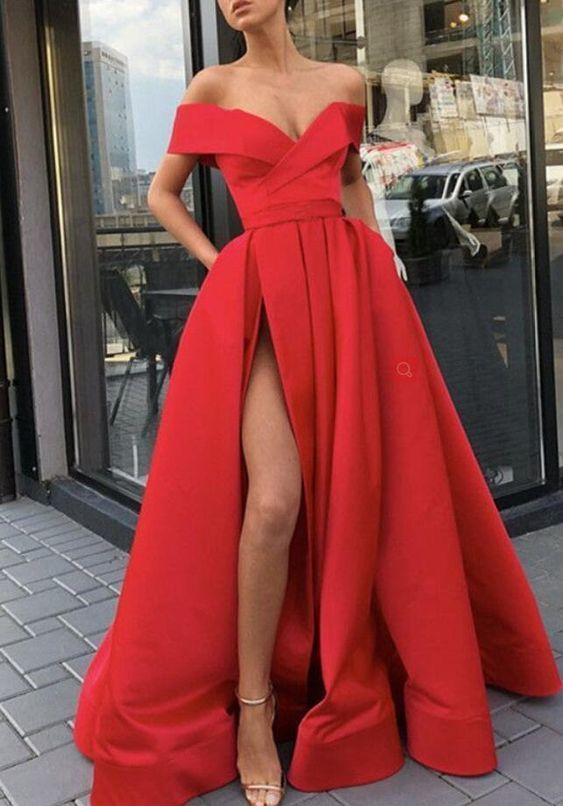 Sexy Off The Shoulder Red Prom Dresses A Line Formal Gown Slit Evening Dresses