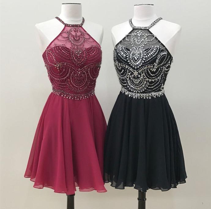 Halter Homecoming Dress,Chiffon Prom Short Dress,Beaded Cocktail Dresses
