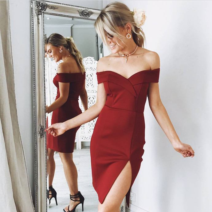 burgundy homecoming dress,short bridesmaid dress,elegant cocktail
