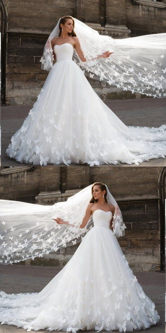 Beautiful Wedding Dress.Beautiful Wedding Dresses With Long Train Sweetheart Butterfly Simple Bridal Gown