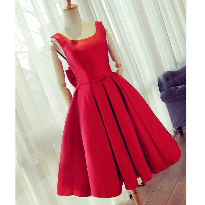 Red Satin Bow Back Party Dresses,Short Homecoming Dresses,Ball Gowns Prom Dress