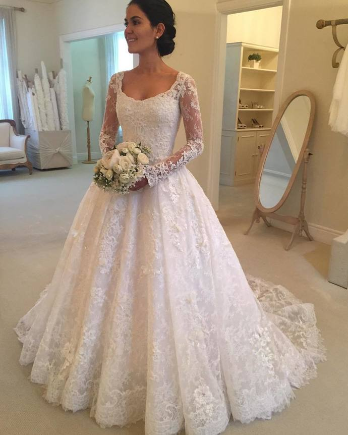 China Long Sleeves Wedding Dress Custom Made Lace Princess: Long Sleeves Wedding Gowns,lace Wedding