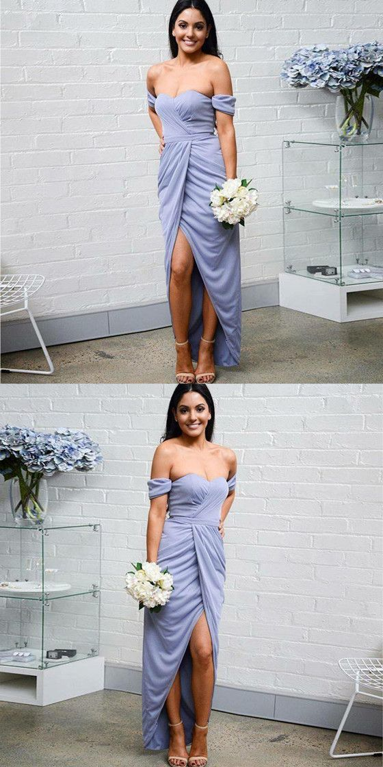e0b911b852 Sweetheart off the Shoulder Lavender Bridesmaid Dresses With Pleats BD1680