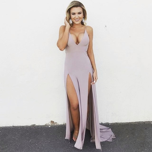 sexy prom dress,mermaid prom dresses 2018,slit prom dress,v neck prom dress,long