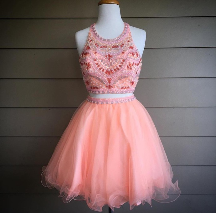 short prom dress,homecoming dresses 2 piece,coral prom dress,beaded prom dresses