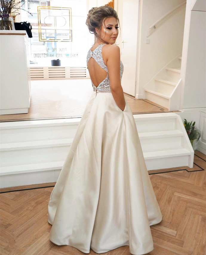 light champagne prom dress,keyhole back dress,long satin evening gowns,sequins