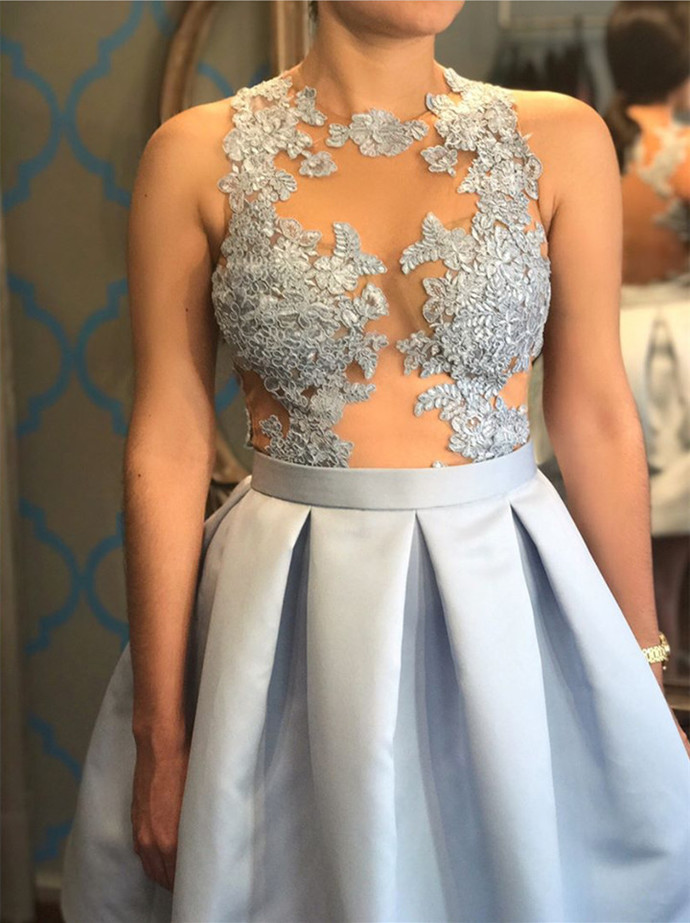 Cute Prom Dress,Short Mini Ball Gowns,Silver Homecoming Dress,Lace Appliques