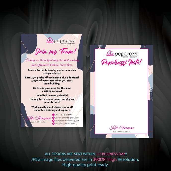 Paparazzi Note Cards, Join My Team cards, Paparazzi Consultant Cards, Paparazzi