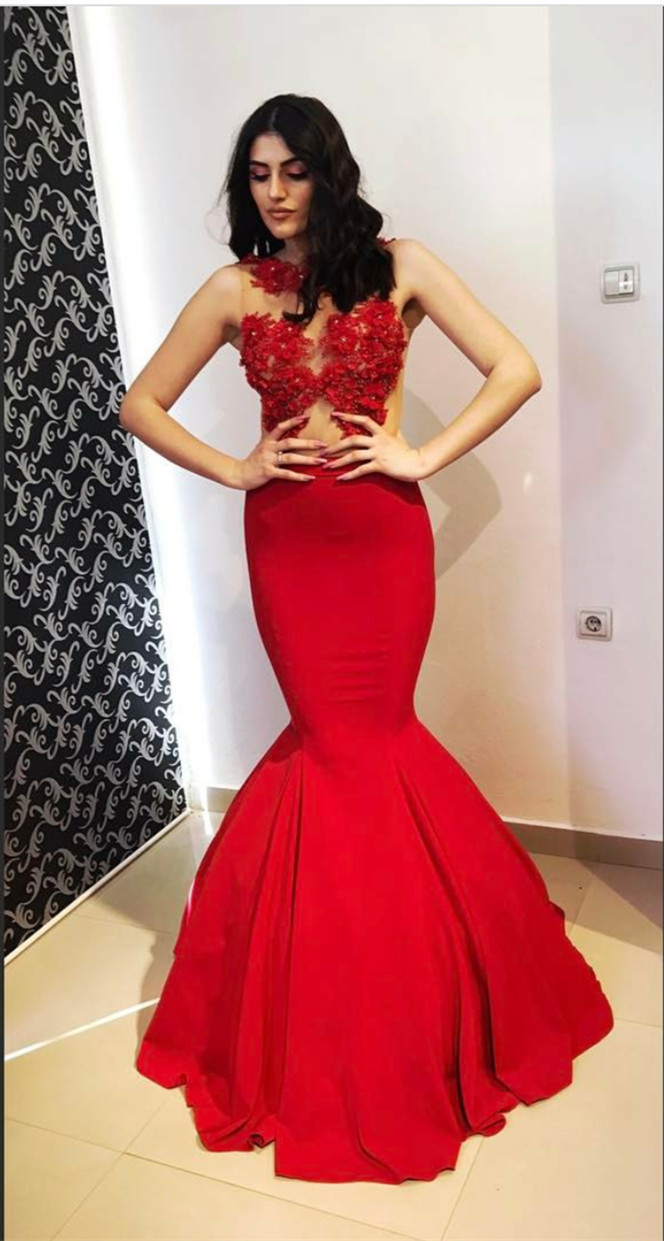 Red Mermaid Dress,Lace Appliques Prom Dress,Mermaid Evening Gowns