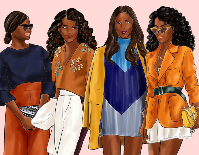 Watercolour fashion illustration clipart - Girls in Fall Colours - Dark Skin