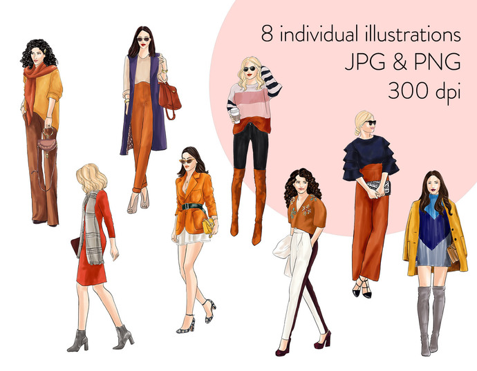 Watercolour fashion illustration clipart - Girls in Fall Colours - Light Skin