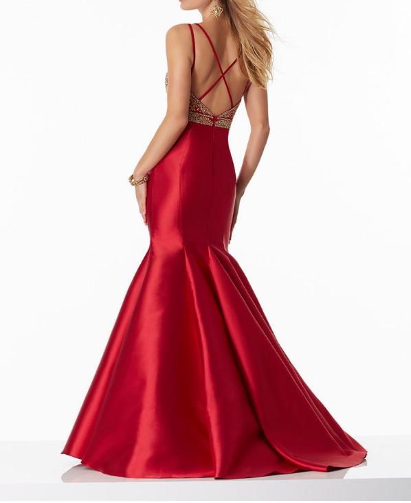 Satin Spaghetti Straps Neckline Mermaid Prom Dresses